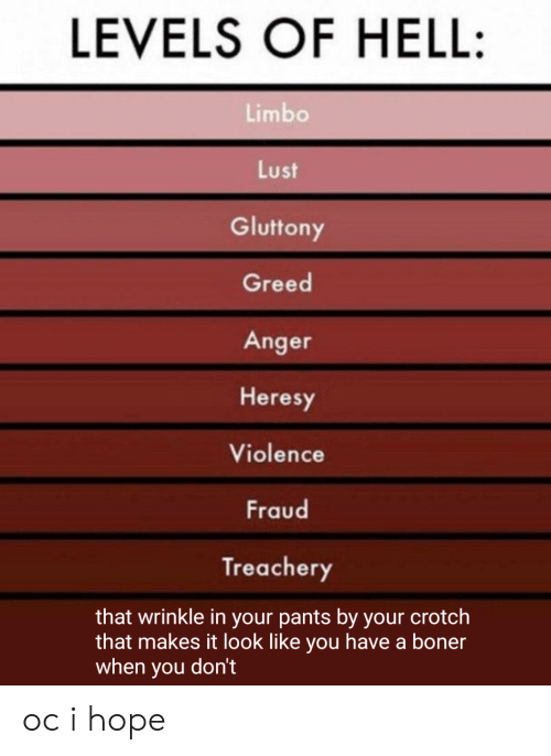 Boner, Greed, and Hell: LEVELS OF HELL:  Limbo  Lust  Gluttony  Greed  Anger  Heresy  Violence  Fraud  Treachery  that wrinkle in your pants by your crotch  that makes it look like you have a boner  when you don't oc i hope