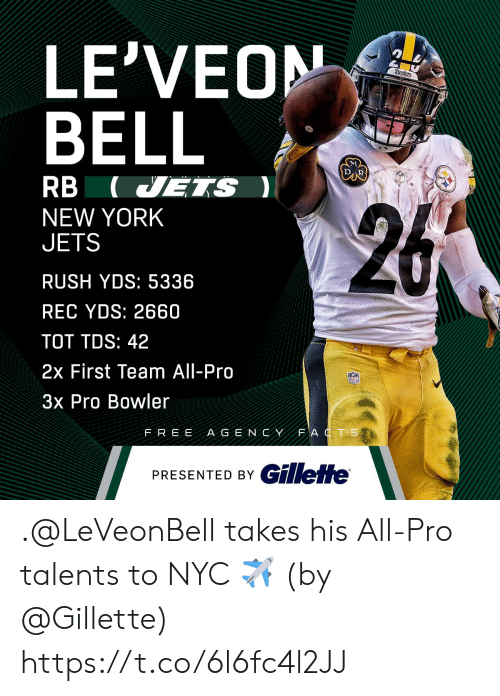 Memes, New York, and New York Jets: LE'VEON  BELL  RB (VETS  NEW YORK  JETS  RUSH YDS: 5336  REC YDS: 2660  TOT TDS: 42  2x First Team All-Pro  3x Pro Bowler  FREE A G E NCYFAT S  PRESENTED BY C .@LeVeonBell takes his All-Pro talents to NYC ✈️  (by @Gillette) https://t.co/6l6fc4l2JJ