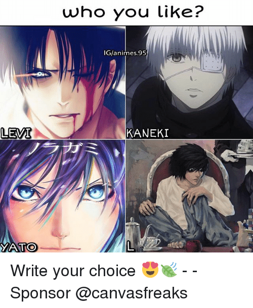 levy: LEVI  TOO  who you like?  IG/animes. 95  KANEKI Write your choice 😍🍃 - - Sponsor @canvasfreaks