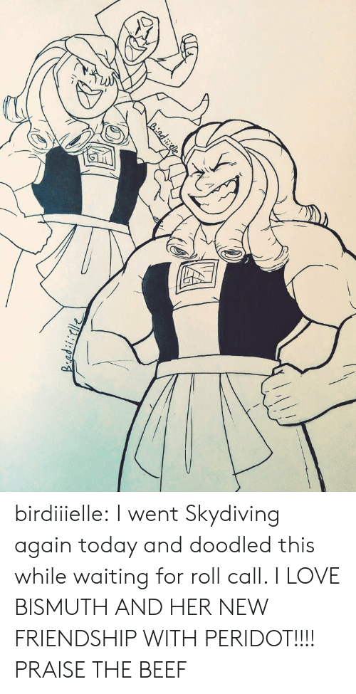 skydiving: Liadiele birdiiielle:  I went Skydiving again today and doodled this while waiting for roll call. I LOVE BISMUTH AND HER NEW FRIENDSHIP WITH PERIDOT!!!!  PRAISE THE BEEF