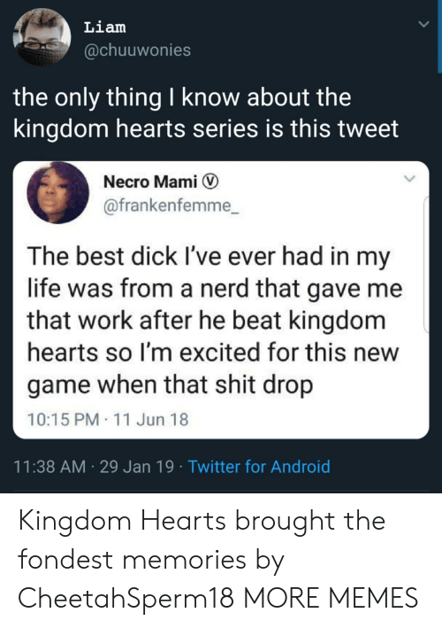 mami: Liam  @chuuwonies  the only thing I know about the  kingdom hearts series is this tweet  Necro Mami V  @frankenfemme_  The best dick I've ever had in my  life was from a nerd that gave me  that work after he beat kingdom  hearts so I'm excited for this new  game when that shit drop  10:15 PM 11 Jun 18  11:38 AM 29 Jan 19 Twitter for Android Kingdom Hearts brought the fondest memories by CheetahSperm18 MORE MEMES