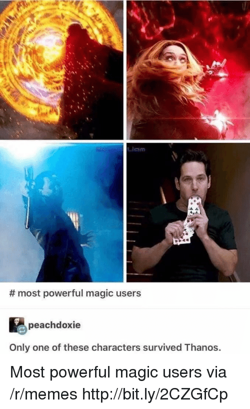Memes, Http, and Magic: Liam  # most powerful magic users  peachdoxie  Only one of these characters survived Thanos. Most powerful magic users via /r/memes http://bit.ly/2CZGfCp