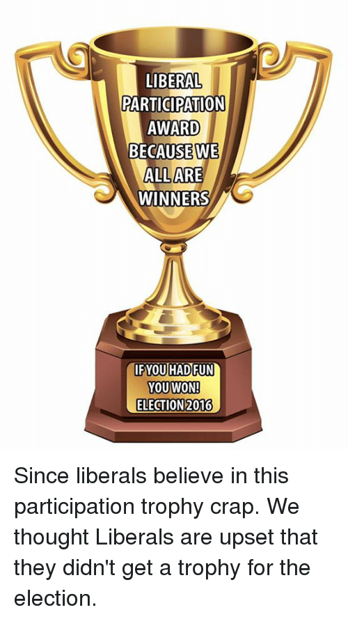 election 2016: LIBERAL  PARTICIPATION  AWARD  BECAUSE WE  ALL ARE  WINNERS  IF YOU HAD FUN  YOU WON!  ELECTION 2016 Since liberals believe in this participation trophy crap. We thought Liberals are upset that they didn't get a trophy for the election.