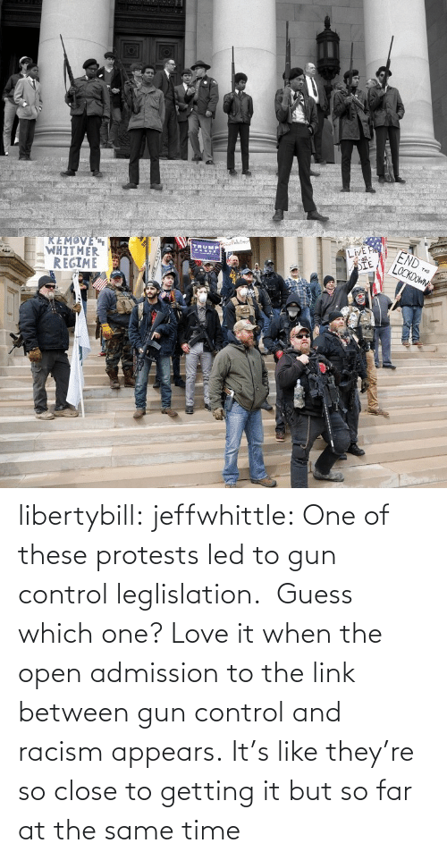Link: libertybill:  jeffwhittle:  One of these protests led to gun control leglislation. Guess which one?   Love it when the open admission to the link between gun control and racism appears.   It's like they're so close to getting it but so far at the same time