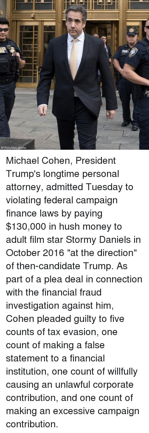 "Lice: LICE  SM  AP Photo/Mary Altaffer Michael Cohen, President Trump's longtime personal attorney, admitted Tuesday to violating federal campaign finance laws by paying $130,000 in hush money to adult film star Stormy Daniels in October 2016 ""at the direction"" of then-candidate Trump. As part of a plea deal in connection with the financial fraud investigation against him, Cohen pleaded guilty to five counts of tax evasion, one count of making a false statement to a financial institution, one count of willfully causing an unlawful corporate contribution, and one count of making an excessive campaign contribution."