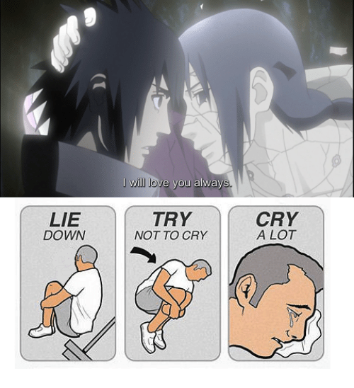 lie down will love you alway try not to cry cry a lot meme on