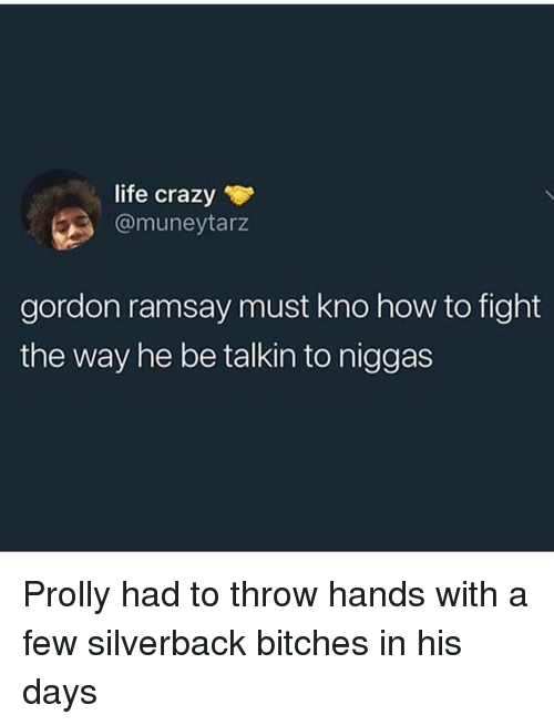 Crazy, Gordon Ramsay, and Life: life crazy  @muneytarz  gordon ramsay must kno how to fight  the way he be talkin to niggas Prolly had to throw hands with a few silverback bitches in his days
