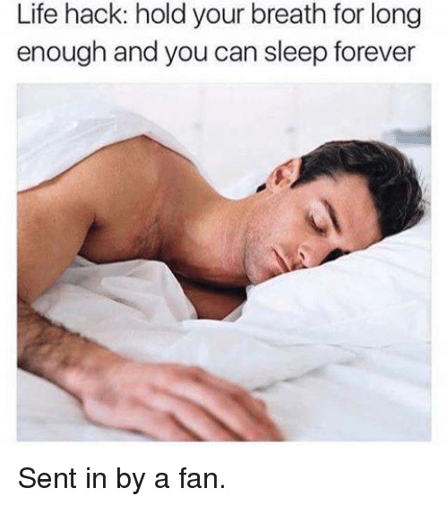 Memes, Life Hack, and 🤖: Life hack: hold your breath for long  enough and you can sleep forever Sent in by a fan.