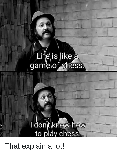 Life, Chess, and How To: Life is like a  gamelot chess  donjt know how  to play chess  0 That explain a lot!