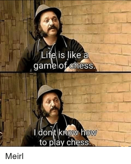 Life, Chess, and How To: Life is like a  gamelot cheSS  I donit know how  to play chess  0 Meirl