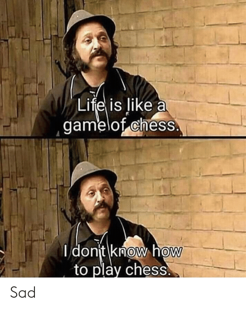 Life, Chess, and How To: Life is like a  gamelot cheSS  I donit knoW how  to play chess.  0  0 Sad