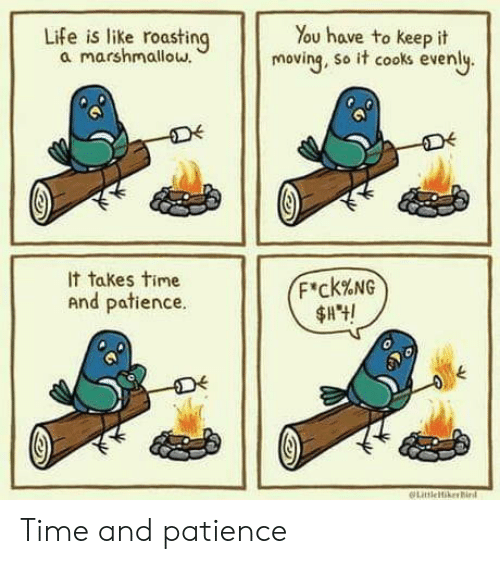 Life, Patience, and Time: Life is like roasting  a marshmallow.  You have to keep it  moving, so it cooks evenly.  It takes time  F'ck%NG  And patience.  LitleikerBird Time and patience