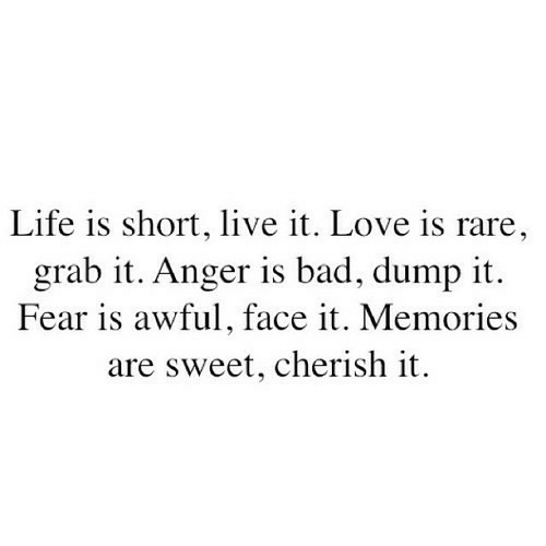 Fear Is: Life is short, live it. Love is rare  grab it. Anger is bad, dump it.  Fear is awful, face it. Memories  are sweet, cherish it