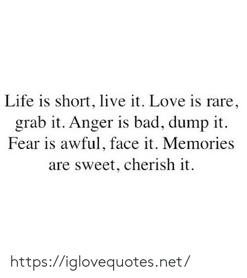 Fear Is: Life is short, live it. Love is rare,  grab it. Anger is bad, dump it  Fear is awful, face it. Memories  are sweet, cherish it https://iglovequotes.net/