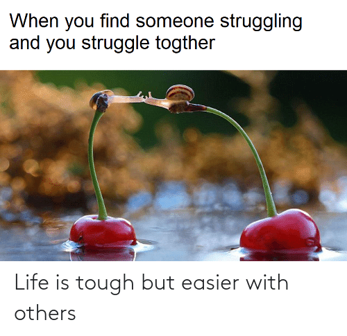 Easier: Life is tough but easier with others