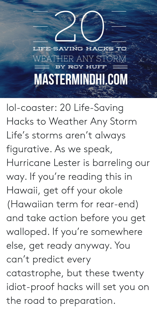 Take Action: LIFE-SAVING HACKS TO  WEATHER ANY STORM  BY ROYHUFF  MASTERMINDHI COM lol-coaster:  20 Life-Saving Hacks to Weather Any Storm Life's storms aren't always figurative. As we speak, Hurricane Lester is barreling our way. If you're reading this in Hawaii, get off your okole (Hawaiian term for rear-end) and take action before you get walloped. If you're somewhere else, get ready anyway. You can't predict every catastrophe, but these twenty idiot-proof hacks will set you on the road to preparation.