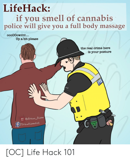 hack: LifeHack:  if  you smell of cannabis  police will give you a full body massage  ooo0Oowrrr....  Up a bit please  the real crime here  is your posture  POL  LICE  edraw tism  DrawtismArt  THIRST  AID [OC] Life Hack 101