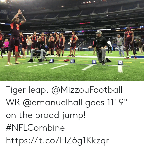 "Memes, Tiger, and 🤖: LIGHT Tiger leap.  @MizzouFootball WR @emanuelhall goes 11' 9"" on the broad jump! #NFLCombine https://t.co/HZ6g1Kkzqr"