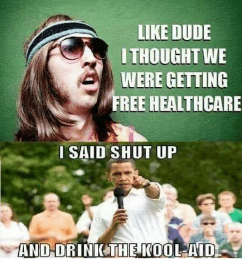 kool: LIKE DUDE  ITHOUGHT WE  WERE GETTING  FREE HEALTHCARE  ISAID SHUT UP  AND-DRINICTHE KOOL-AID