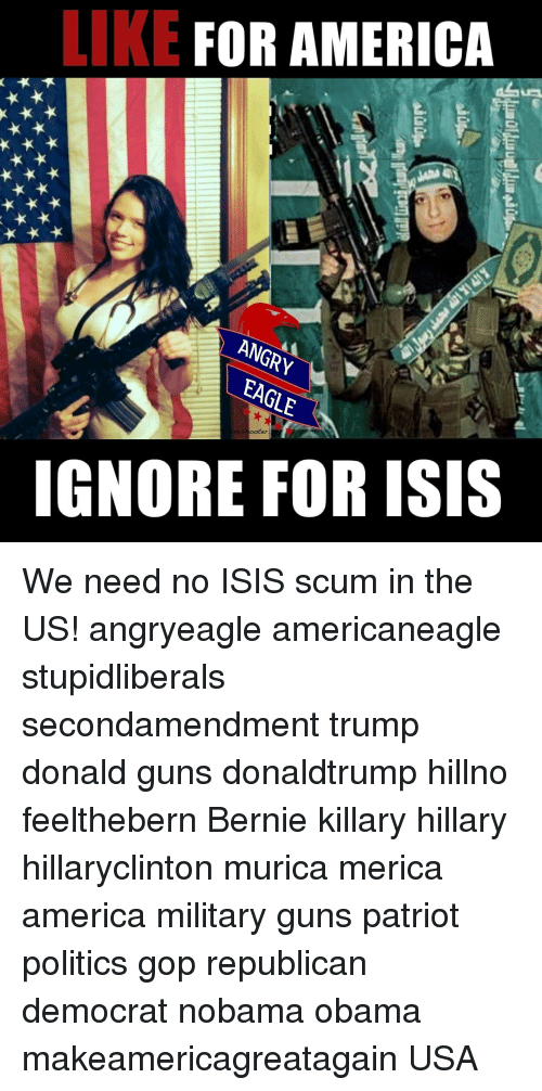 Memes, 🤖, and Scum: LIKE  FOR AMERICA  ANGRY  EAGLE  IGNORE FOR ISIS We need no ISIS scum in the US! angryeagle americaneagle stupidliberals secondamendment trump donald guns donaldtrump hillno feelthebern Bernie killary hillary hillaryclinton murica merica america military guns patriot politics gop republican democrat nobama obama makeamericagreatagain USA