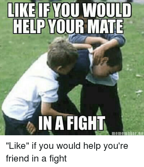 "meme maker: LIKE IF YOU WOULD  HELP YOUR MATE  IN A FIGHT  meme maker, net ""Like"" if you would help you're friend in a fight"