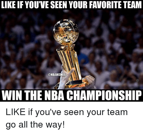 nba championships: LIKE IF YOUVE SEEN YOUR FAVORITE TEAM  @NBAMEMES  WIN THE NBA CHAMPIONSHIP LIKE if you've seen your team go all the way!