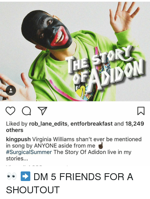 Friends, Memes, and Summer: Liked by rob_lane_edits, entforbreakfast and 18,249  others  kingpush Virginia Williams shan't ever be mentioned  in song by ANYONE aside from me  #Surgica!Summer The Story Of Adidon live in my  stories... 👀 ➡️ DM 5 FRIENDS FOR A SHOUTOUT