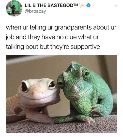 Grandparents: LIL B THE BASTEGODTM  @broazay  when ur telling ur grandparents about ur  job and they have no clue what ur  talking bout but they're supportive