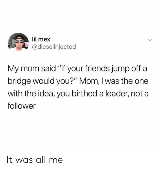 "Dank, Friends, and All Me: lil mex  @dieselinjected  My mom said ""if your friends jump off a  bridge would you?"" Mom, I was the one  with the idea, you birthed a leader, not a  follower It was all me"