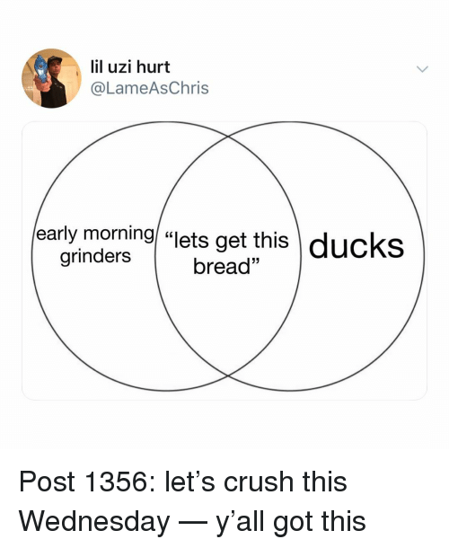 "Crush, Memes, and Ducks: lil uzi hurt  @LameAsChris  early morning/ ""lets get this  \ ducks  grinders  bread"" Post 1356: let's crush this Wednesday — y'all got this"