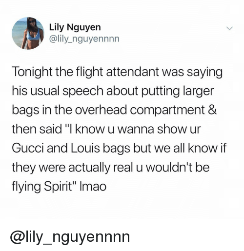 "Gucci, Flight, and Spirit: Lily Nguyen  @lily_nguyennnn  Tonight the flight attendant was saying  his usual speech about putting larger  bags in the overhead compartment &  then said ""I know u wan  Gucci and Louis bags but we all know if  they were actually real u wouldn't be  flying Spirit"" Imao  na show ur @lily_nguyennnn"