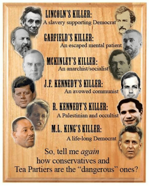 """Anarchist: LINCOLN'S KILLER:  slavery supporting Democrat  A  GARFIELD'S KILLER:  An escaped mental patient  MCKINLEY'S KILLER  An anarchist/socialist  J.F. KENNEDY'S KILLER:  An avowed communist  R. KENNEDY'S KILLER  A Palestinian and occultist  M.L. KINGS KILLBR  A life-long Democrat  So, tell me again  how conservatives and  Tea Partiers are the """"dangerous"""" ones?"""