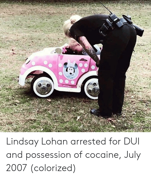Lindsay Lohan, Cocaine, and July: Lindsay Lohan arrested for DUI and possession of cocaine, July 2007 (colorized)