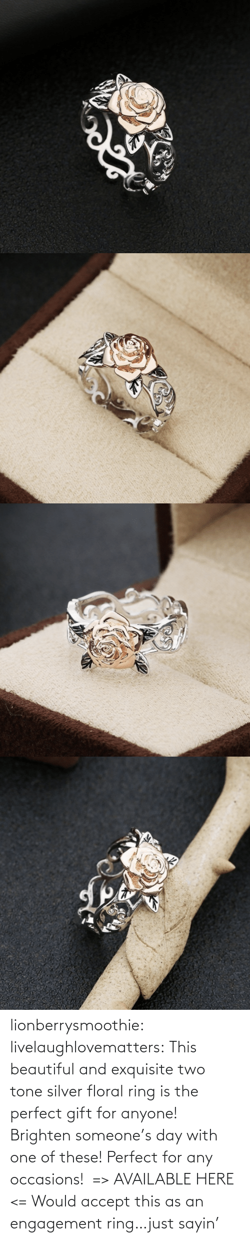 Silver: lionberrysmoothie:  livelaughlovematters: This beautiful and exquisite two tone silver floral ring is the perfect gift for anyone! Brighten someone's day with one of these! Perfect for any occasions!  => AVAILABLE HERE <=    Would accept this as an engagement ring…just sayin'