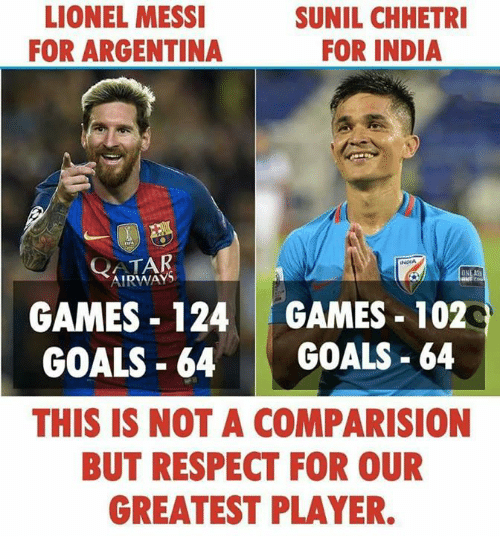 qatar airways: LIONEL MESSI  FOR ARGENTINA  SUNIL CHHETRI  FOR INDIA  QATAR  AIRWAYS  INDIA  GAMES 124 GAMES 102  GOALS-64 GOALS-64  THIS IS NOT A COMPARISION  BUT RESPECT FOR OUR  GREATEST PLAYER.