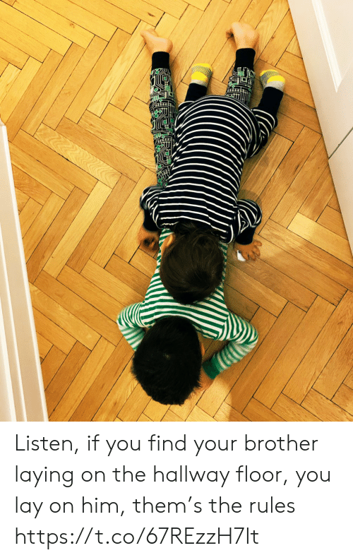 Memes, 🤖, and Brother: Listen, if you find your brother laying on the hallway floor, you lay on him, them's the rules https://t.co/67REzzH7It