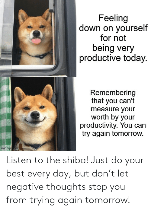 Trying: Listen to the shiba! Just do your best every day, but don't let negative thoughts stop you from trying again tomorrow!