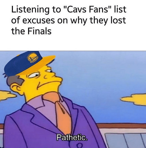 "Cavs, Finals, and Lost: Listening to ""Cavs Fans"" list  of excuses on why they lost  the Finals  НА  Pathetic"