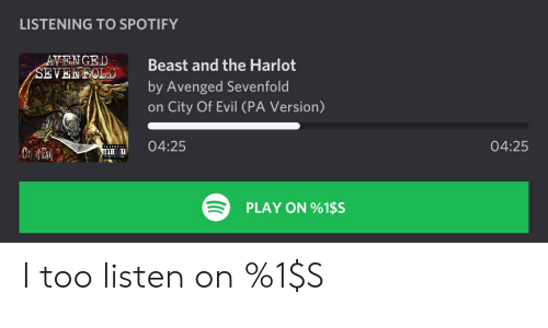 Spotify, Evil, and Avenged Sevenfold: LISTENING TO SPOTIFY  ^^NCED Beast and the Harlot  by Avenged Sevenfold  on City Of Evil (PA Version)  04:25  04:25  PLAY ON 961SS I too listen on %1$S