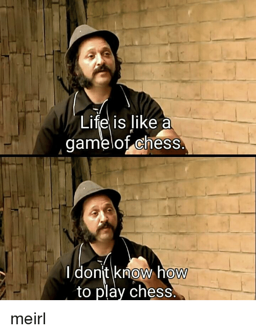 Chess, How To, and MeIRL: LITe Is like a  gamelof chess.  donit know hoW  to play chess. meirl