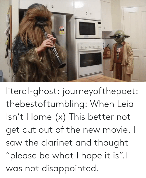 "Get Cut: literal-ghost:  journeyofthepoet:  thebestoftumbling:    When Leia Isn't Home (x)  This better not get cut out of the new movie.  I saw the clarinet and thought ""please be what I hope it is"".I was not disappointed."
