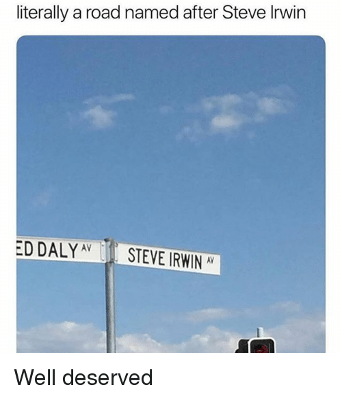 well deserved: literally a road named after Steve Irwin  ED DALYAVSTEVE IRWIN AV Well deserved