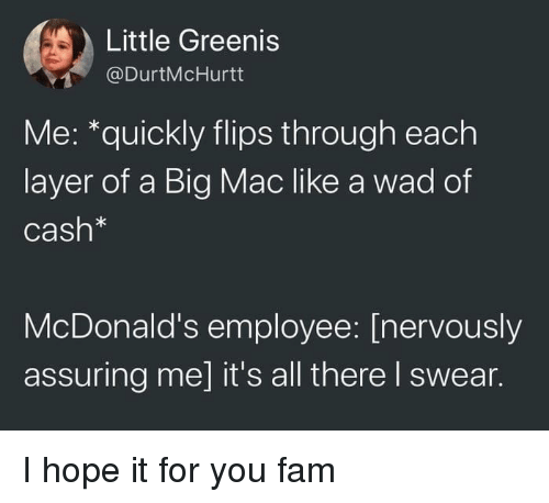 Flips: Little Greenis  @DurtMcHurtt  Me: *quickly flips through each  layer of a Big Mac like a wad of  Cash*  McDonald's employee: [nervously  assuring me] it's all there I swear. I hope it for you fam