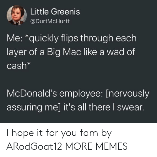 Flips: Little Greenis  @DurtMcHurtt  Me: *quickly flips through each  layer of a Big Mac like a wad of  Cash*  McDonald's employee: [nervously  assuring me] it's all there I swear. I hope it for you fam by ARodGoat12 MORE MEMES