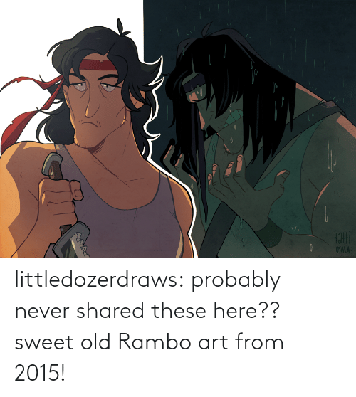 Old: littledozerdraws:  probably never shared these here?? sweet old Rambo art from 2015!