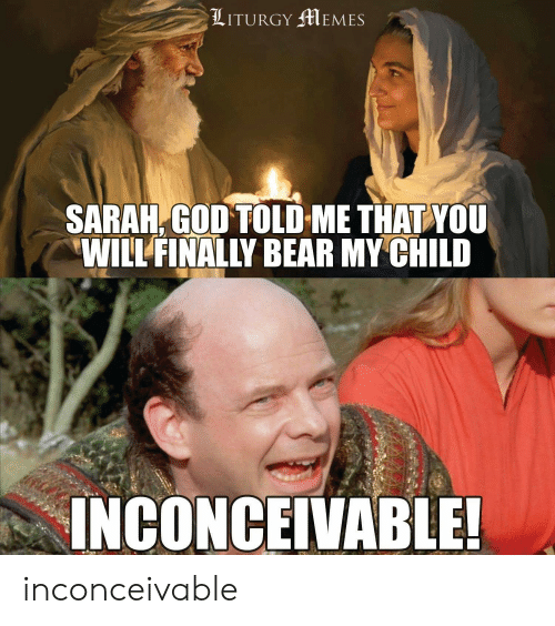 God, Memes, and Bear: LITURGY MEMES  SARAH, GOD TOLD ME THAT YOU  WILL FINALLY BEAR MY CHILD  INCONCEIVABLE! inconceivable