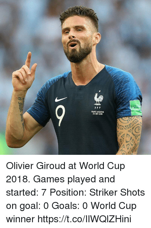 argentine: LIV  FRANCE-ARGENTINE  30 JUIN 2018 Olivier Giroud at World Cup 2018.  Games played and started: 7  Position: Striker  Shots on goal: 0  Goals: 0  World Cup winner https://t.co/IlWQlZHini