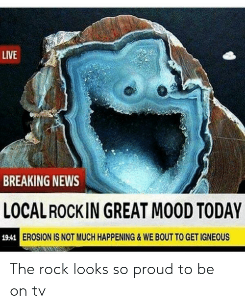 Mood, News, and The Rock: LIVE  BREAKING NEWS  LOCALROCKIN GREAT MOOD TODAY  EROSION IS NOT MUCH HAPPENING&WE BOUT TO GET IGNEOUS  19:41 The rock looks so proud to be on tv