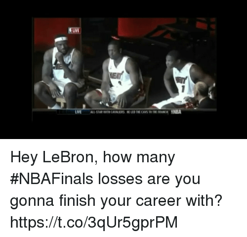 All Star, Cavs, and Nba: LIVE  LIVE  ALL STAR WTH CAVANERS E LED THE CAVS TO THE FRANCH NBA Hey LeBron, how many #NBAFinals losses are you gonna finish your career with? https://t.co/3qUr5gprPM