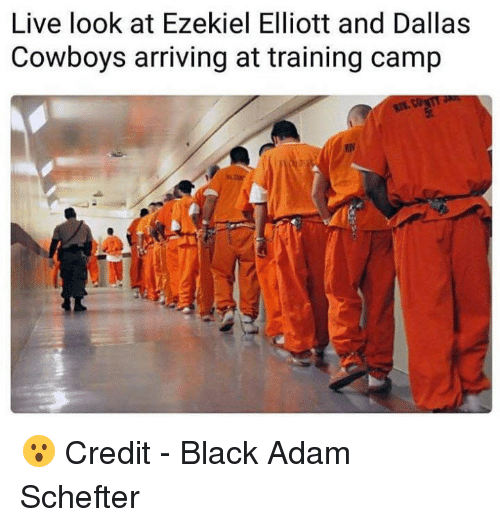 black adam: Live look at Ezekiel Elliott and Dallas  Cowboys arriving at training camp 😮  Credit - Black Adam Schefter